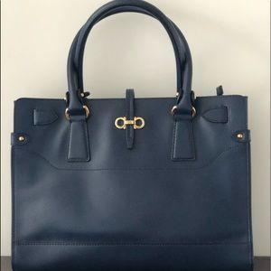 Ferragamo Vintage Navy Medium Batik Handbag